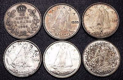 Lot of 6 Canada 10 Cents Silver Dimes - Dates: 1936 - 1968 - Great Value!!!