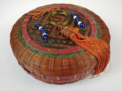 BANGLE BEADS TASSLES COINS Chinese Sewing TEA Basket Betty-Lou Collection 158