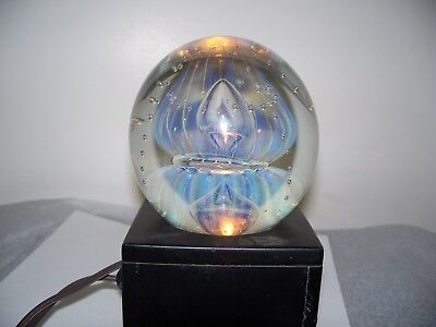 "Huge EICKHOLT MOON JELLY PAPERWEIGHT:  Blue Opalescent,Mercury Bubbles,4"",1992"