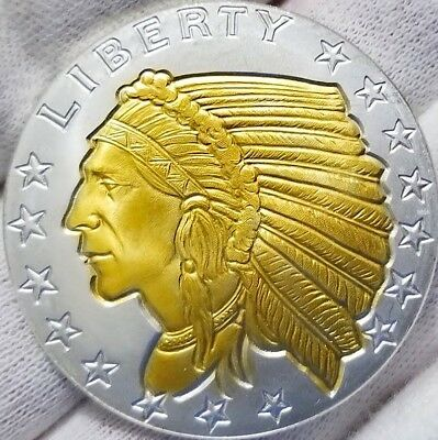 American Incuse Indian , NEW 1 oz .999 pure Silver Coin , 24k Gold Gilded