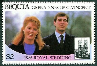 BEQUIA 1986 $2 (2) mint MNH FG Royal Wedding Omnibus Issue 1st issue a1