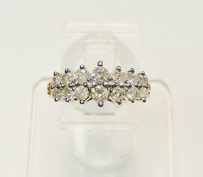 STUNNING 14kt YELLOW GOLD 3/4 cttw DOUBLE ROW GRADUATED DIAMOND COCKTAIL RING
