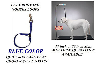 BLUE FLAT CHOKER QUICK RELEASE RESTRAINT Noose LOOP for Grooming Table Arm Bath