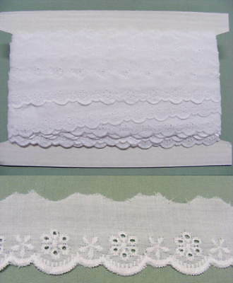 Broderie Anglaise Flat Lace  (3114) - White 20 meters