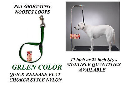 GREEN FLAT CHOKER QUICK RELEASE RESTRAINT Noose LOOP for Grooming Table Arm Bath