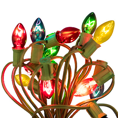 C-7 Multi-Color Clear Twinkle Bulbs With Cord 25' Length 25 Bulbs
