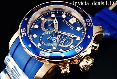 NEW Invicta Men's 48mm Pro Diver SCUBA Chronograph Blue Label Rose Tone SS Watch