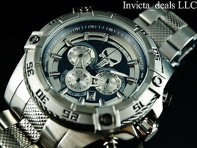 Invicta Marvel 52mm Speedway Viper Limited Ed PUNISHER Silver/Gunmetal SS Watch