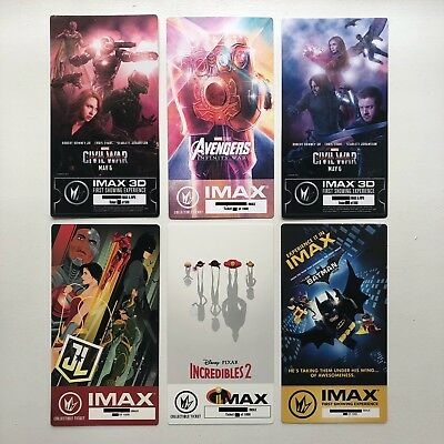 Marvel & DC IMAX Ticket 6 Set - Avengers Infinity War Endgame Captain America