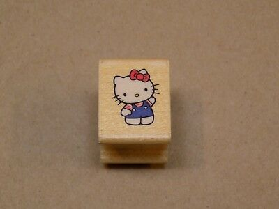 2dde13c14 Hello Kitty Sanrio Wooden Rubber Stamp All Night Media Tiny Cartoon Cat  900A Bow