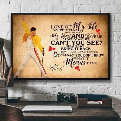 Freddie Mercury Love Of My Life Horizontal Poster Unframed Poster US Supplier
