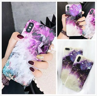 Reflective Purple Marble Pattern Case Slim Fit Protective Phone Cover For iPhone