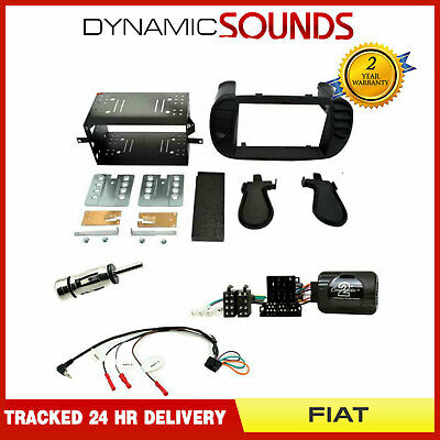 Double Din Stereo Fascia & Steering Wheel Interface Kit for Fiat 500 2007-2015