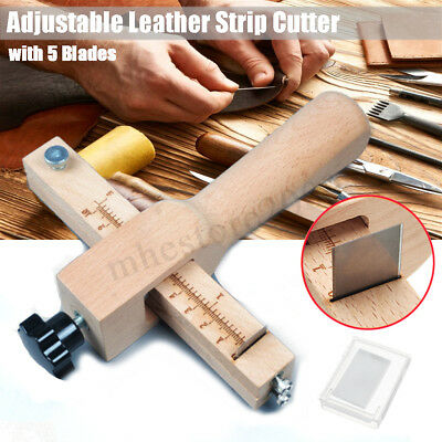 Adjustable Strip Strap Lace Cutter Leather Craft Tool for Belt Collar + 5 Blades