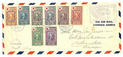 Curacao 1944 Red Cross Set On Censor Cv -Creased -Stamps Ok
