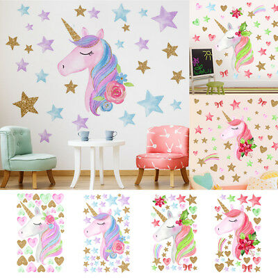 PVC Removable Fairy Unicorn Lovely Cute Door Wall Stickers Home Kids Room Decor