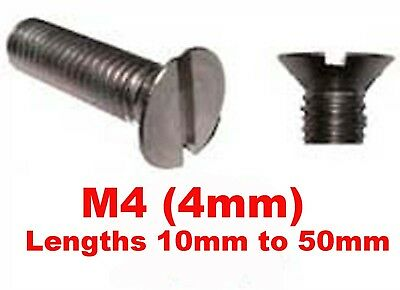 M4 / 4mm Stainless Steel Countersunk Slotted Machine Screws,12mm,16mm,20mm,30mm+