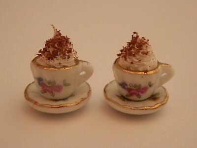 Dolls house food:Hot chocolates with whipped cream  -By Fran