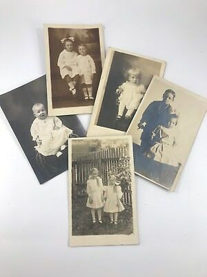 Set Of 5 Early Antique/Vintage Real Picture Postcards Of Rural American Living