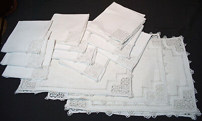 Antique Italian Placemats + Napkins Set Of 20 Pointe De Venise Lace Needlelace
