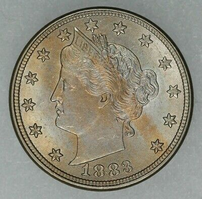 1883 Liberty V Nickel 5C Type 1 No Cents - Choice Bu++ Color / Toning Unc (7727)