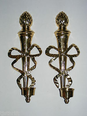 """Vtg 2pc set 22"""" large brass pineapple bow wall sconce candle holders India ~W"""