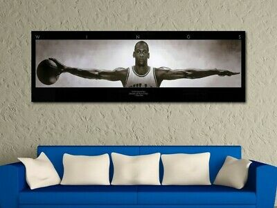 Michael Jordan Wings Panoramic Black & White Poster Canvas Print Home Decor Wall
