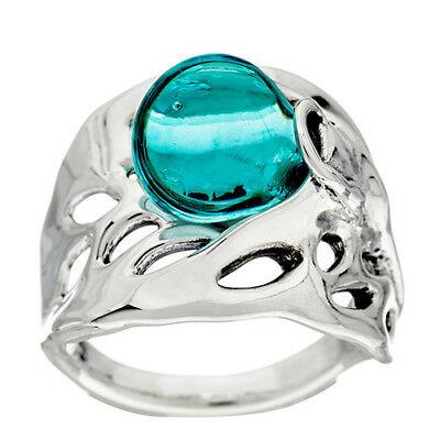 Kalos by Hagit Sterling Silver Blue Glass Ring Size 9 QVC Sold Out!