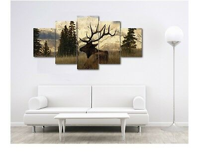 Large Elk Mountains Wildlife Nature Canvas Print Home Decor Wall Art 5 Piece