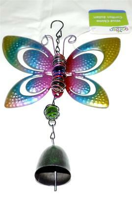 Multicolor Butterfly Aluminum Windchime with Bell