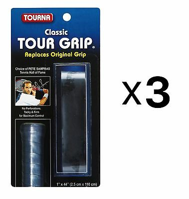 Tourna Tennis Racquet Replacement Grip Sampras Tour Grip 1.8 MM Black (3-Pack)