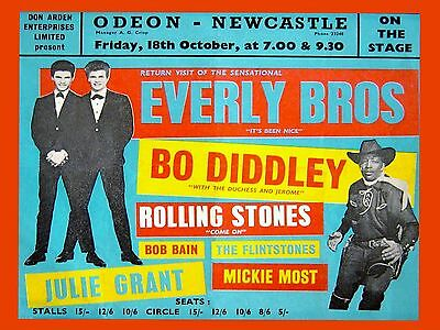 """Everly Brothers / Rolling Stones Newcastle 16"""" x 12"""" Photo Repro Concert Poster"""