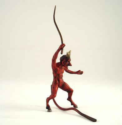 Franz Bergmann Vienna Austria Red DEVIL WITH WHIP Faun Satyr Bronze Brass