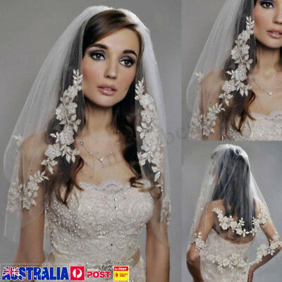 2 Layers White/Ivory Wedding Prom Bridal Lace Applique Veil With Comb 31.2''