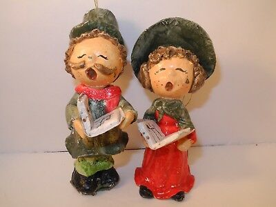 TAIWAN Vintage Paper Mache Caroling Christmas Tree Ornaments Man Woman Singing