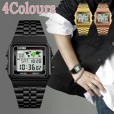SKMEI Mens Watches Business World Time Date Watch Men's Digital Wristwatches UK
