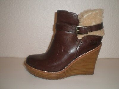 233eb6efef90 Womens Genuine Ugg Anais Wedge Heel Fashion Ankle Boots Size   5.5 Brown