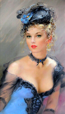 Woman in blue dress Oil Painting Giclee Art Printed on canvas L2017