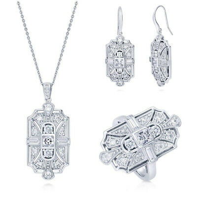 925 Silver Cubic Zirconia CZ Art Deco Earrings Necklace and Statement Ring Sets