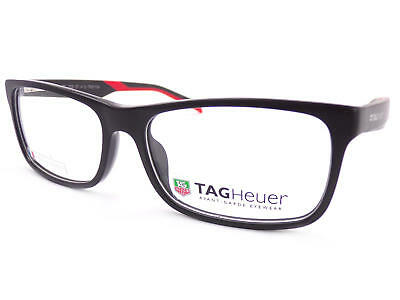 77d7c716bc6 TAG Heuer men s B-URBAN Matte Black Red 57mm RX Glasses Frame TH0551 005