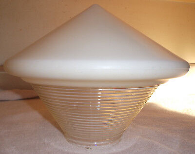 """Vintage Art Deco Lamp Light Shade Pointy Milk & Ribbed Glass 3 1/2"""" Fitter"""