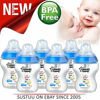Tommee Tippee Closer to Nature Decorated Bottle Blue 260ml 6Pk│Anti-Colic│New
