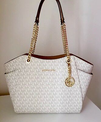 cd56162c846ad MICHAEL KORS TASCHE BAG JET SET TRAVEL LG CHAIN TOTE SIGNATURE vanilla