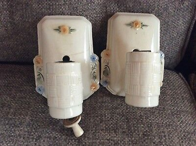 Pair of Antique Vintage Art Deco Floral Ceramic Sconces light fixture bathroom
