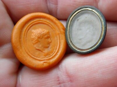 Un researched Post Medieval seal intaglio male bust  metal detecting detector