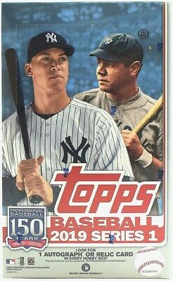 2019 TOPPS BASEBALL SERIES 1 FACTORY SEALED HOBBY BOX plus 1 silver pack