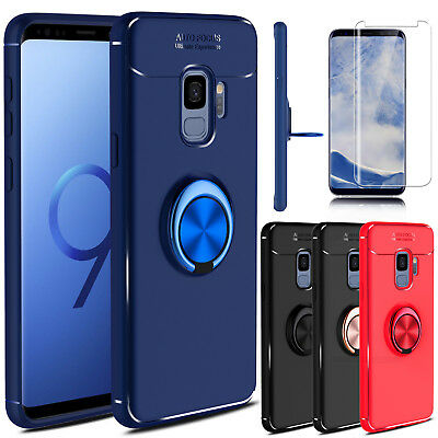For Samsung Galaxy S9/S9 Plus Slim Case With Ring Holder Stand+Screen Protector