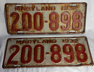 Antique 1932 Maryland Matched Set Pair License Plates 200-898