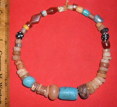 Short Strand Assorted Sahara Neolithic Stone Beads Prehistoric African Artifacts