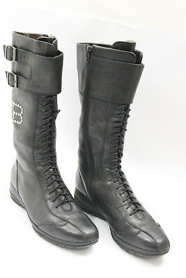befbc863c41664 LAURA BIAGIOTTI women boots sz 6.5 Europe 37 black leather S6760 ...